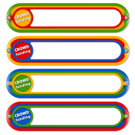 crowd sourcing: Four colored frames for any text with the words crowd funding Illustration