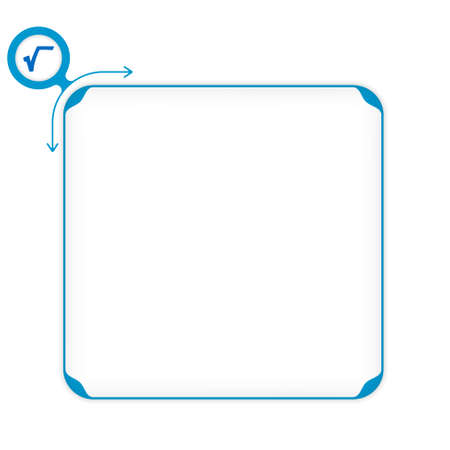 square root: Vector blue box to fill your text and square root
