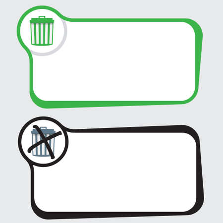 interdict: Set of two vector text frames and trashcan Illustration
