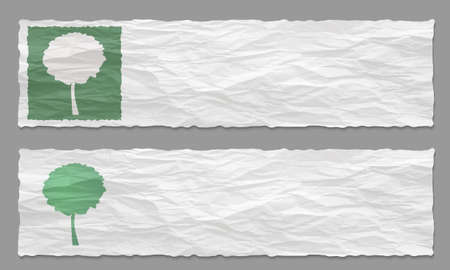 remark: Set of two banners with crumpled paper and tree symbol