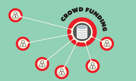 Vector kreisförmige Objekt mit Thema Crowdfunding