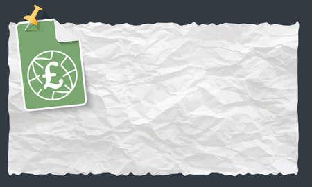 sterlina: Documento sgualcito e globo e Simbolo della sterlina