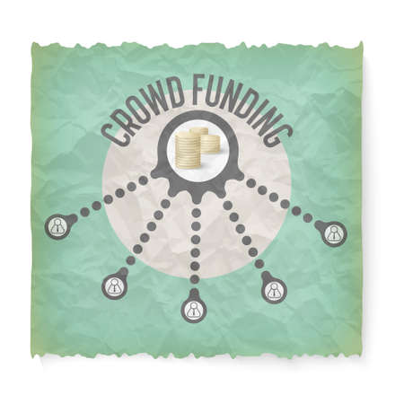 crowd sourcing: Crumpled paper with theme of crowd funding