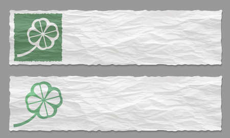 irish culture: Set of two banners with crumpled paper and cloverleaf