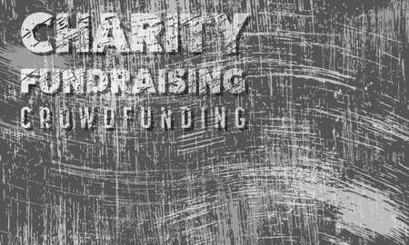 crowd sourcing: Scratched background and the transparent words charity, fund raising, crowd funding