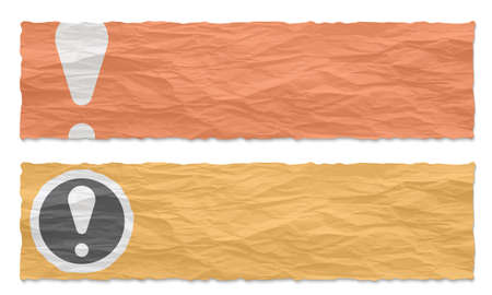 Two colored banners of crumpled paper and exclamation mark Illustration