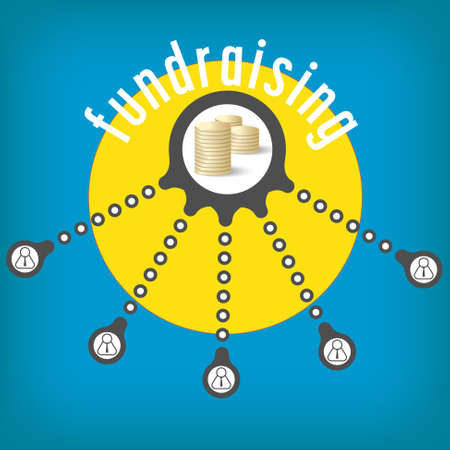 crowd sourcing: Vector circular object with theme of fund raising