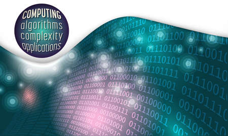 algorithms: Futuristic abstract background and binary code with the words computing, algorithms; complexity; applications