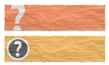 crumpled: Two colored banners of crumpled paper and question mark Illustration