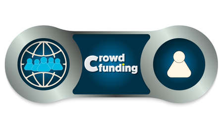 crowd sourcing: Two scratched metal frames and the words crowd funding