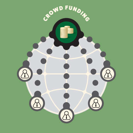 crowd sourcing: Big globe with theme of crowd funding Illustration
