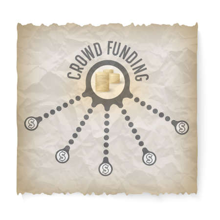 crumpled: Crumpled paper with theme of crowd funding