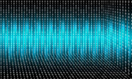 Vector abstract background with lights; lines and binary code