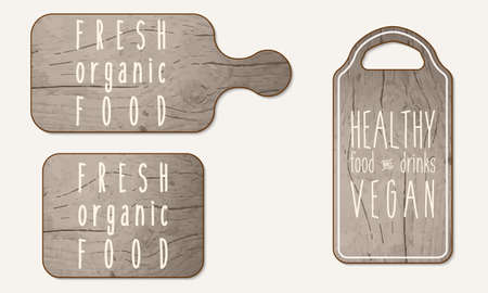 breadboard: Wooden breadboard with the words healthy, organic, food Illustration