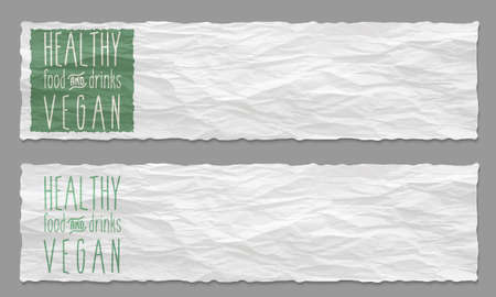 crumpled: Set of two banners with crumpled paper and the words healthy food and drinks Illustration