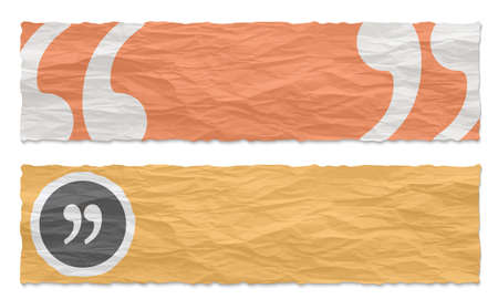 remark: Two colored banners of crumpled paper and quotation mark Illustration