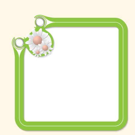 office romance: Green frame for your text and flowers Illustration