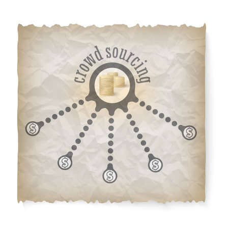 crowd sourcing: Crumpled paper with theme of crowd sourcing
