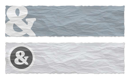remark: Two colored banners of crumpled paper and ampersand