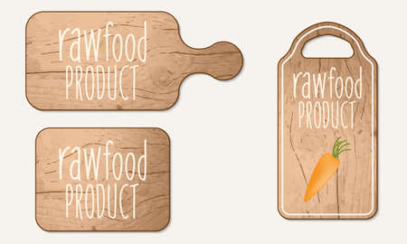 breadboard: Wooden breadboard with the words raw food product