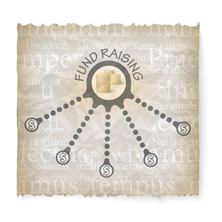 crumpled: Crumpled paper with theme of fund raising Illustration