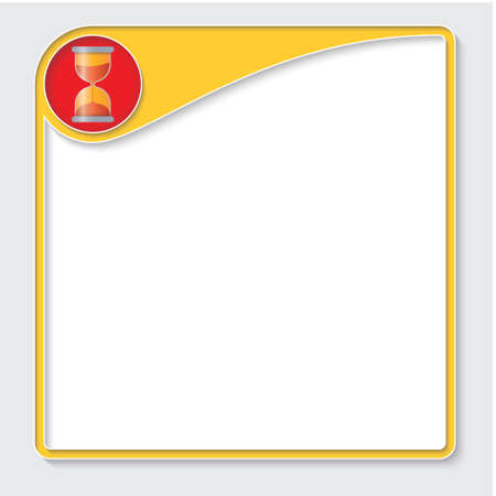 sand glass: Yellow box for your text and sand glass