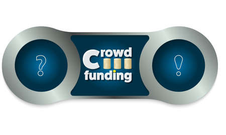 crowd sourcing: Two metal frames and the words crowd funding