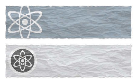 crumpled: Two colored banners of crumpled paper and science symbol