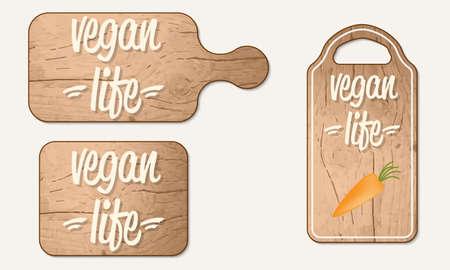 breadboard: Wooden breadboard with the words vegan life