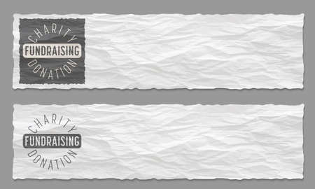 crowd sourcing: Set of two banners with crumpled paper and the theme of charity