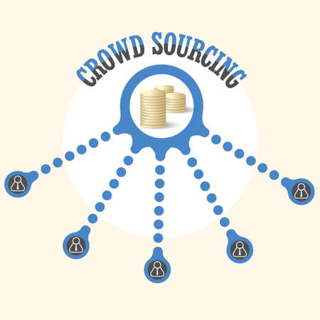 crowd sourcing: Vector circular object with theme of crowd sourcing