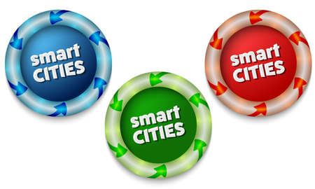 back light: Three icons with color back light and the words smart cities Illustration