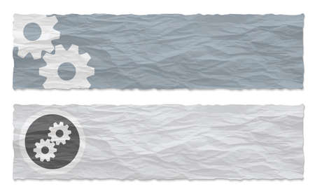 sprockets: Two colored banners of crumpled paper and cogwheels