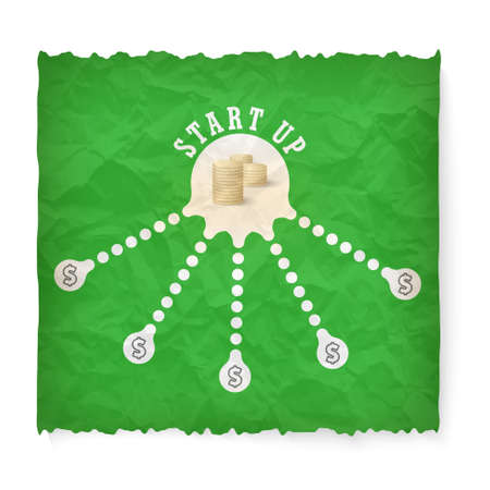 start up: Crumpled paper with theme of start up