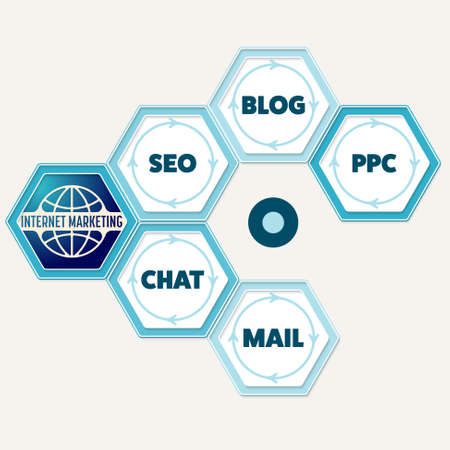 Vector hexagons for your text and the words internet marketing, seo, blog, ppc, chat, mail