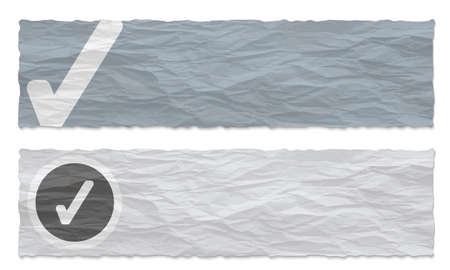 remark: Two colored banners of crumpled paper and check box