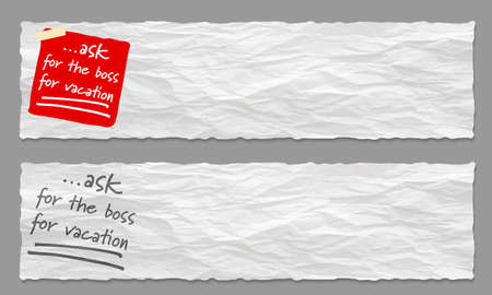 Set of two banners with crumpled paper and the words ask for the boss for vacation