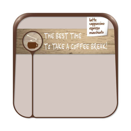 brown box: Brown box for fill your text with cup of coffee annd the words the best time to take a coffee break