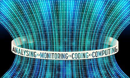 Futuristic vector backdrop and binary code and the words analising monitoring computing coding