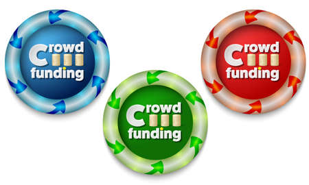 back light: Three icons with color back light and the words crowd funding Illustration