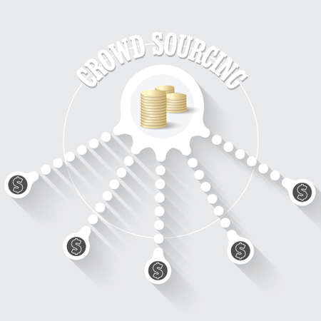sourcing: Vector circular object with theme of crowd sourcing