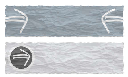 wrinkle: Two colored banners of crumpled paper and hand written arrow