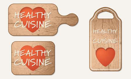 breadboard: Wooden breadboard with the words healthy cuisine Illustration
