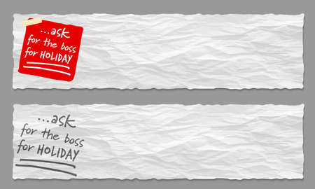 Set of two banners with crumpled paper and the words ask for the boss for holiday