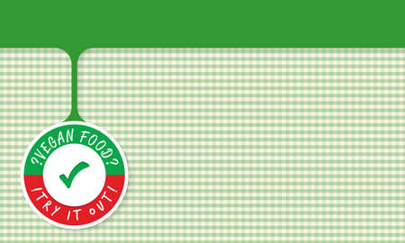 green it: Green object and the words vegan food, try it out and check box Illustration