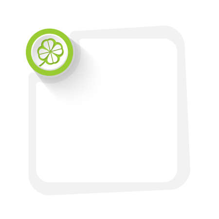 cloverleaf: Green circle with cloverleaf and gray frame for your text