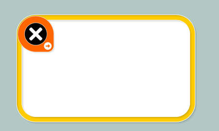 multiplication: Yellow text frame for your text and multiplication symbol Illustration