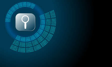 Vector abstract background with circular binary code and magnifier