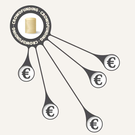 crowd sourcing: Vector object with theme of crowd funding and euro symbol Illustration
