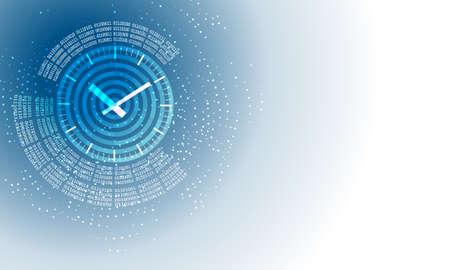 sfondo astratto con codice binario circolare e orologi